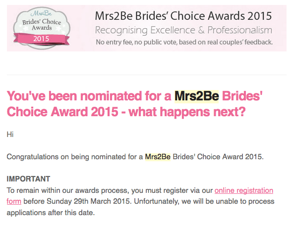 Nominated for the Brides' Choice Awards 2015