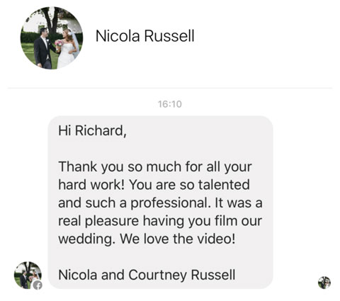 Wedding Video Review by Nicola Russell